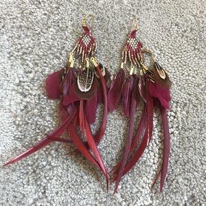Marlyn Schiff Beaded Feather Earrings NWOT